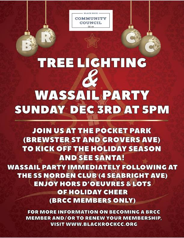 Tree Lighting & Wassail Party Flyer